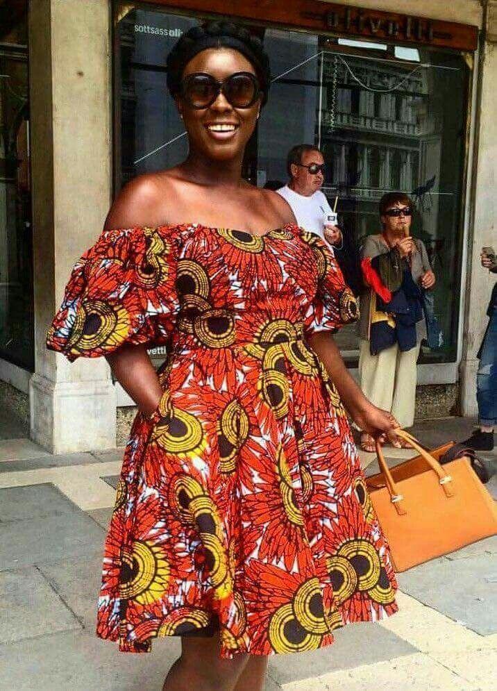 Off shoulders African chitenge dress. Kanyget fashions