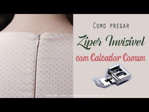 Como costurar Zíper Invisível com Calcador de Zíper comum - YouTube