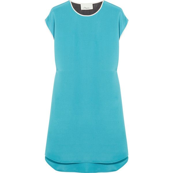 3.1 Phillip Lim Chevron-back silk dress (1.120 BRL) ❤ liked on Polyvore featuring dresses, blue, net-a-porter, mini, slip on dress, chevron dress, blue mini dress, blue chevron print dress and silk mini dress