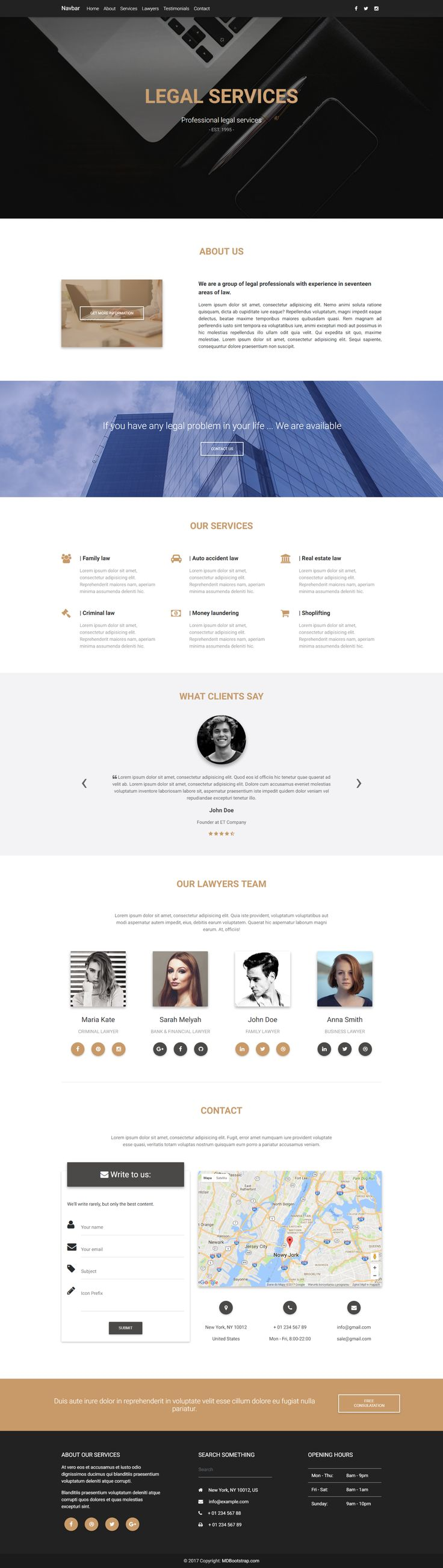 Created with Material Design for Bootstrap, fully responsive portfolio template, designed for legal related businesses