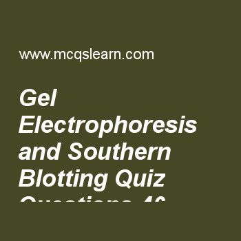 Learn quiz on gel electrophoresis and southern blotting, MCAT quiz 46 to practice. Free gel electrophoresis and southern blotting MCQs with answers. Practice MCQs to test knowledge on, gel electrophoresis and southern blotting, biogenetics and thermodynamics, atp synthase and chemiosmotic coupling, operon concept and jacob monod model, rna processing in eukaryotes, introns and exons worksheets.  Free gel electrophoresis and southern blotting worksheet has multiple choice quiz questions as...