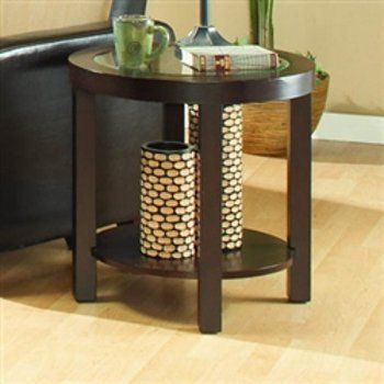 """Round End Table of Brussel Collection by Homelegance by Homelegance. $156.99. """"Made from the finest solid teak, which is strong and durable"""". """"Perfect For Apartment And Smaller Living Spaces, This Stylish, Espresso Finished, Contemporary Occasional Group Features Clean Lines, A Glass Top And Wedge Seating That Fits Perfectly Under The Tabletop For Those Who Desire A Streamlined Look"""". Three cocktail table options allow for extra seating or accessory display.. """"It is elega..."""