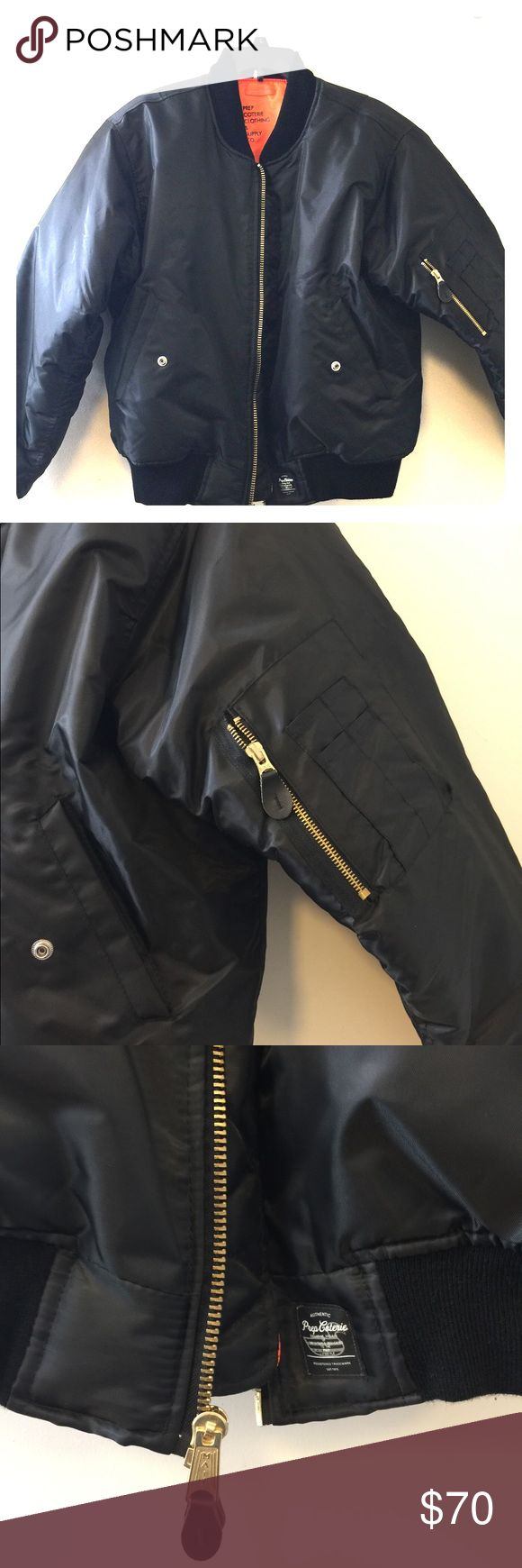 Prep Coterie lightweight Bomber Jacket Black with orange lining prep coterie Jackets & Coats Bomber & Varsity