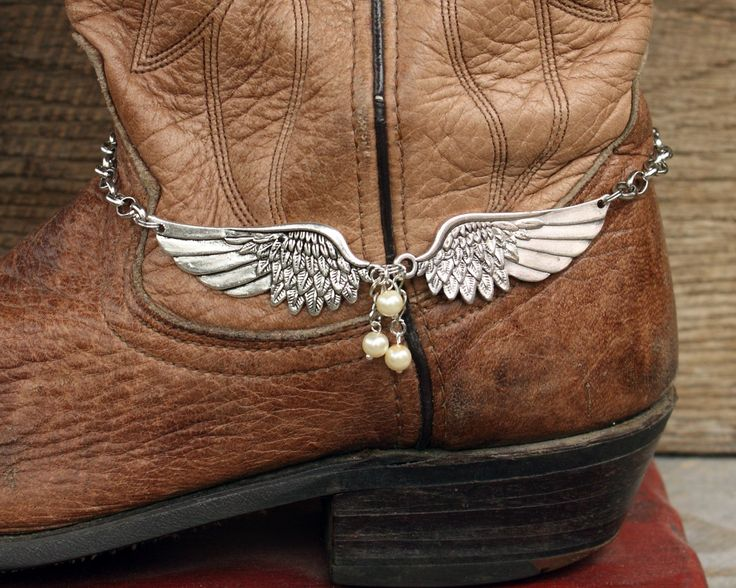 Large Angel Wing and Pearl Boot Bling, Boot Jewelry, Boot Bracelet, Anklet Jewelry, Handmade Jewelry, Angel Wing Jewelry, Pearl Jewelry by WhiteFeatherJewelry on Etsy
