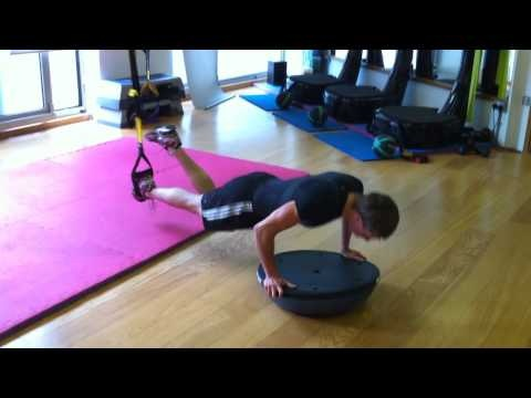 TRX scorpion burpee with BOSU ball