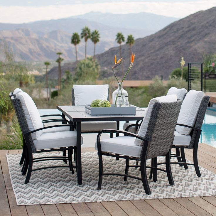 Belham Living Augusta Metal And All Weather Wicker Patio Dining Set | From  Hayneedle.
