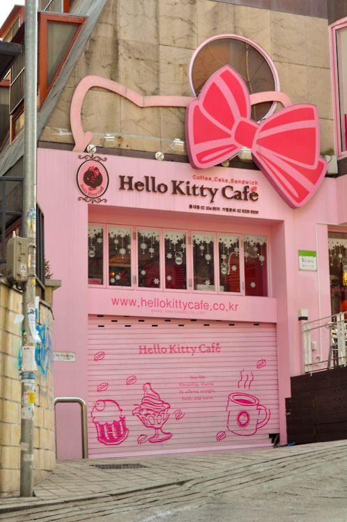 Korea ~ Hello Kitty Cafe  I loved Hello Kitty as a little girl. this might be kind of fun to visit someday. And I am Korean, too. =)  Located in Hongdae