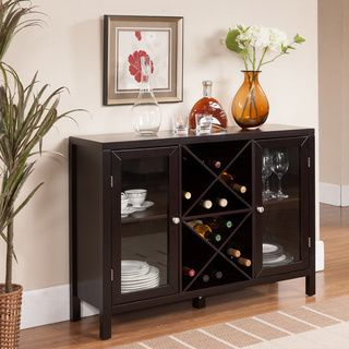 wine cabinet features an open storage compartment where you can place wine bottles and two side glass doors to storage wine glasses and more