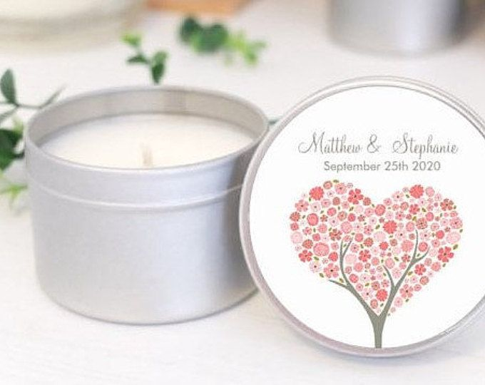 Personalised wedding favours / bomboniere. Soy candle tins.