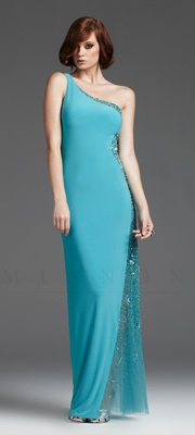 Turquoise Beaded Tulle Illusion One Shoulder Prom Dress