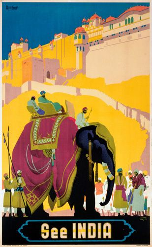 See India - Elephant  - Indian Railway Travel Poster