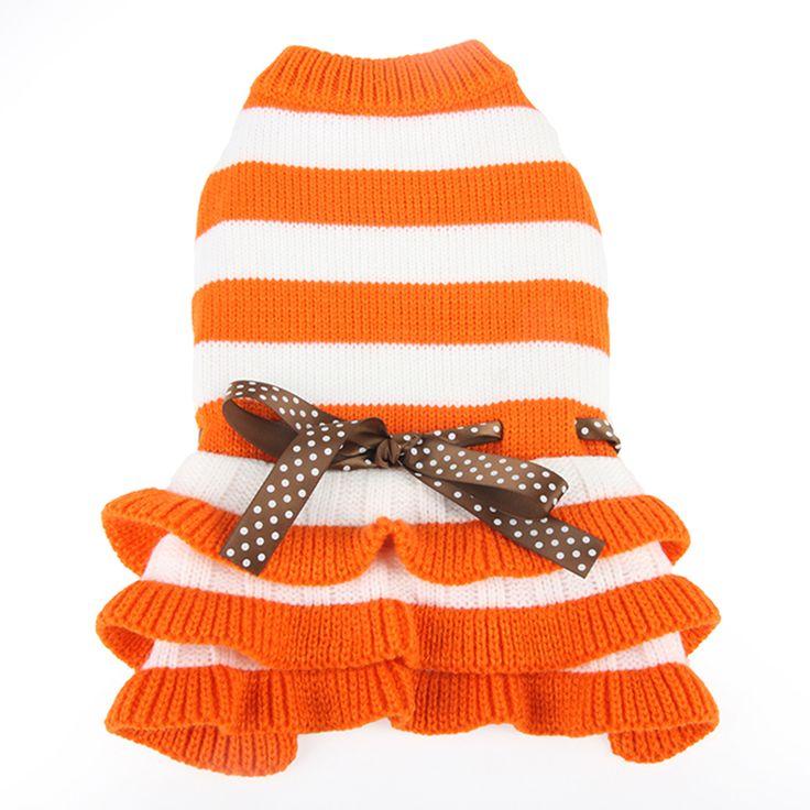 High Quality Design Pet Dog Cat Stripe Woolen Dress Autumn Winter Cheap Dog Clothes Roupa De Cachorro Deus Pet 436 #Affiliate