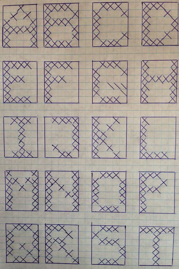 Broderede bogstaver, 5×6 felter – DIY
