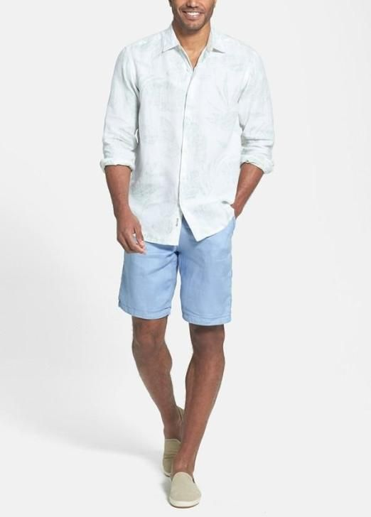 Love this casual look for summer   Sport shirt and flat front shorts