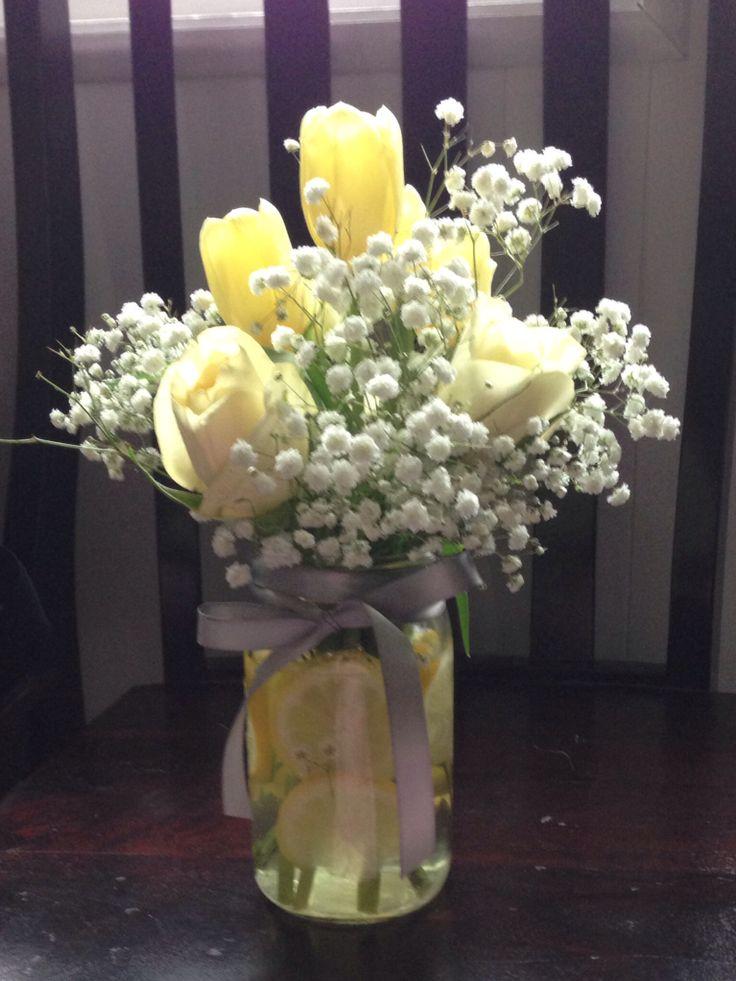 Baby shower flowers centerpiece yellow grey babies