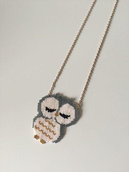 Colliers longs, Collier hibou miyuki est une création orginale de brinou sur DaWanda