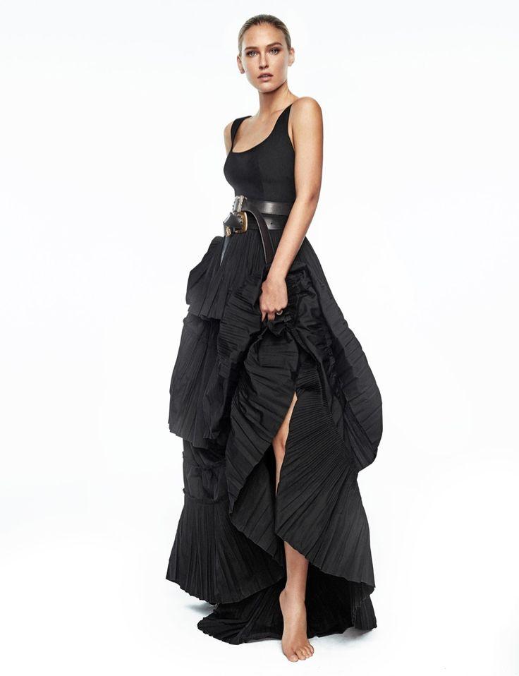 Posing barefoot, Bar Refaeli wears Alberta Ferretti ruffled dress and belts