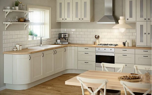 L-shaped kitchens run along two walls directly next to each other. They can be a good option for an open-plan space. This one is by B&Q, click through to see more kitchen design ideas.