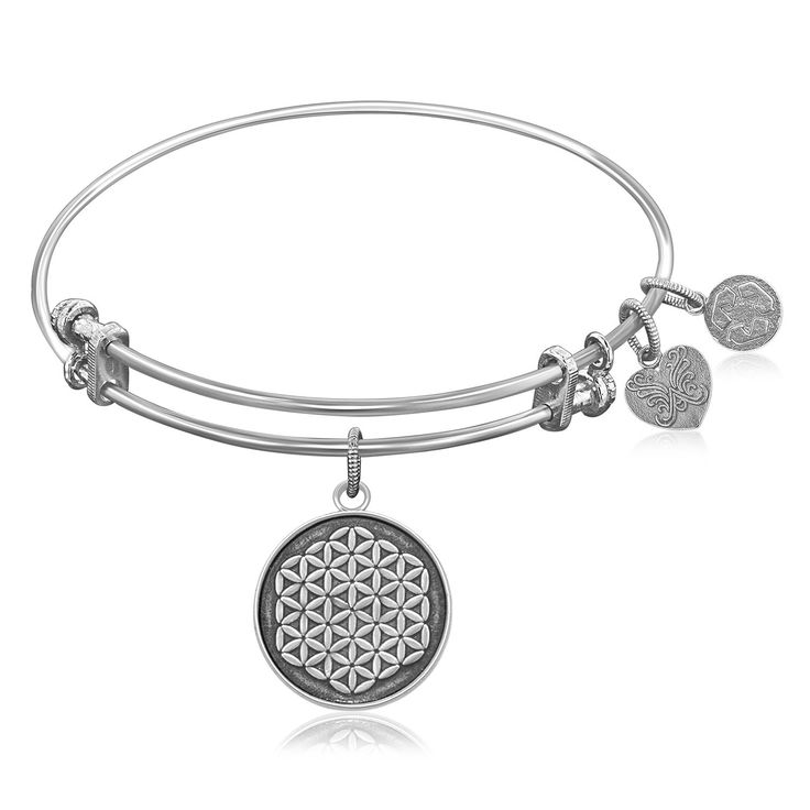 Expandable Bangle in White Tone Brass with Sacred Geometry Flower Of Life