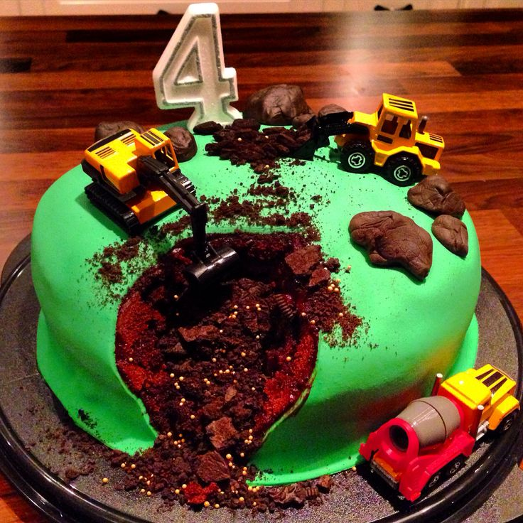 Construction cake (gold diggers) made for my sons 4th birthday  chocolate cake with sugar fondant.