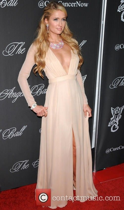 2017 Sexy Inspired by Paris Hilton Celebrity Dress Champagne Evening Dress Prom Dress V-neck Chiffon Long Sleeves Party Gown