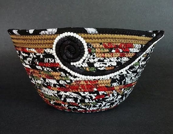 Coiled Fabric Basket Beaded Swirl Basket by JKTextileArts on Etsy More