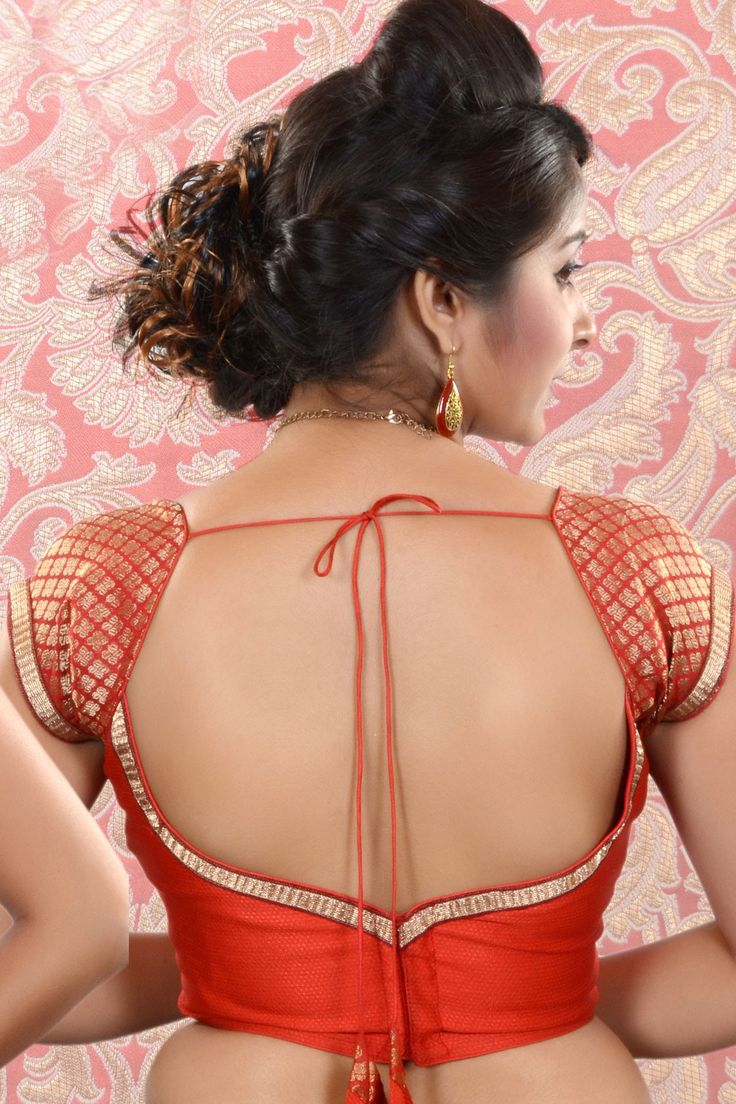 #Red & #Gold Raw Silk & Brocade combo #blouse -BL420