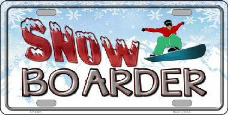 Snow Boarder License Plate Tag Sign
