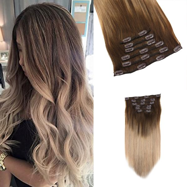 Clip In Human Hair Extensions Dark Brown Fading To Ash Blonde