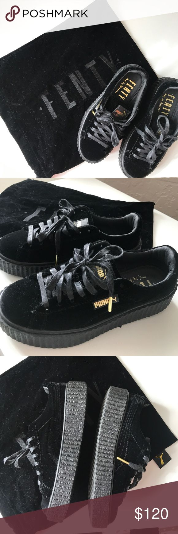 Black Velvet Fenty by Rihanna Creepers - Puma Black velvet creepers. Never worn. No box, but comes with dust bag. Size 7 US women's. Puma Shoes Sneakers