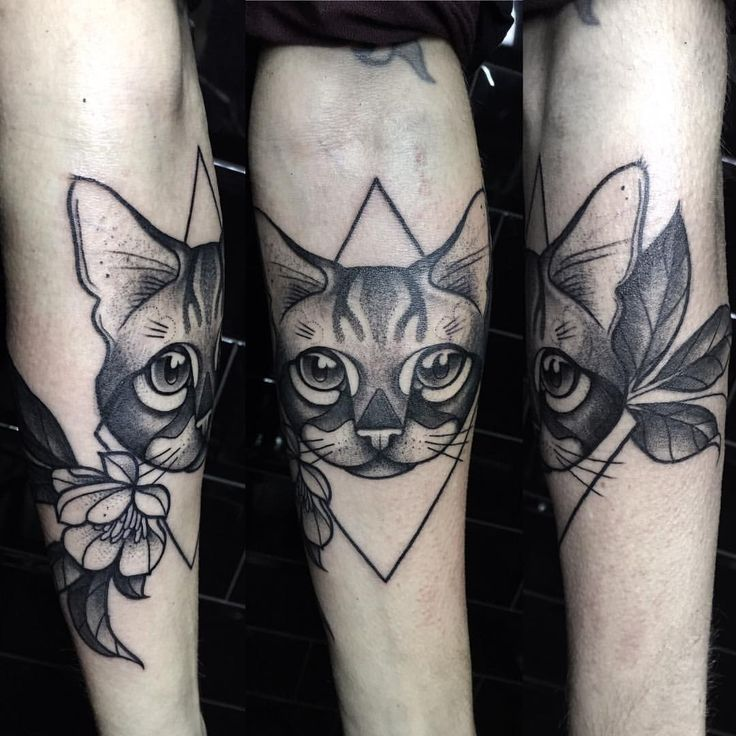unique Geometric Tattoo - Cat portrait tattoo Black work geometrical tattoo By Miss Sita done at One O Nin...
