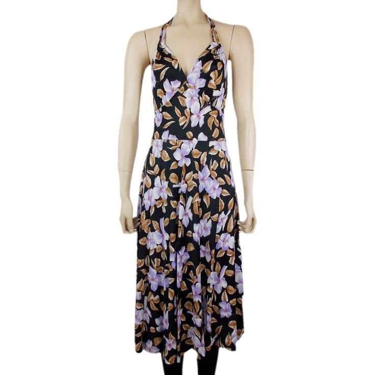 Vintage 70s Floral Patterned Halterneck Midi Dress UK 8/10 by BlackcatsvintageUK on Etsy
