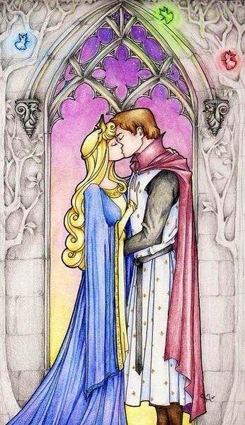 Sleeping Beauty's Princess Aurora and Price Phillip cartoon illustration via www.Facebook.com/DisneylandForMisfits