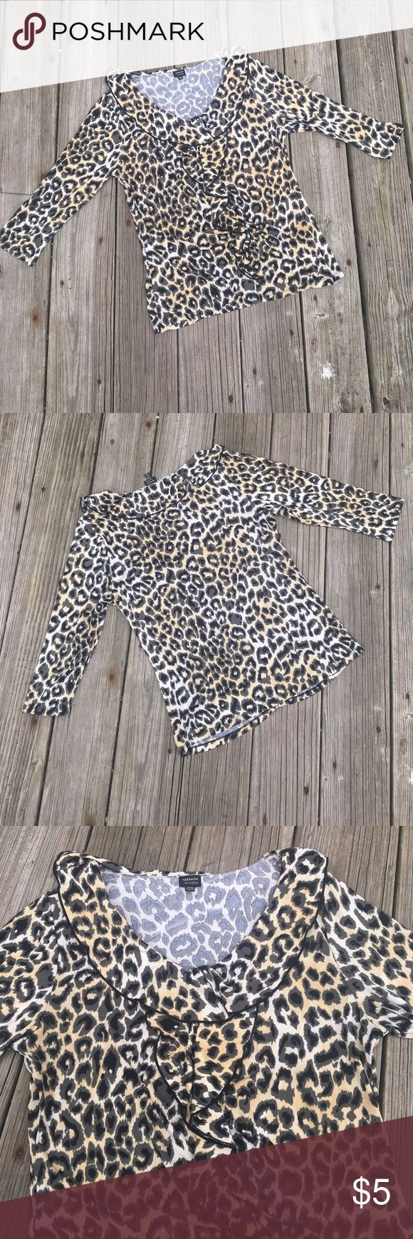 Cheetah Print Long Sleeve Top BUNDLE DEAL!!!‼️ BUY 5 $5 SHIRTS GET ONE FREE OR BUY 6 ITEMS GET 20% OFF. Rafaella Tops