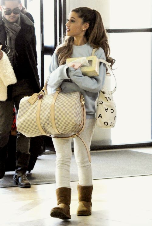 Ariana Grande traveling wear. should always be comfy and warm on a plane cuz they are always so damn cold
