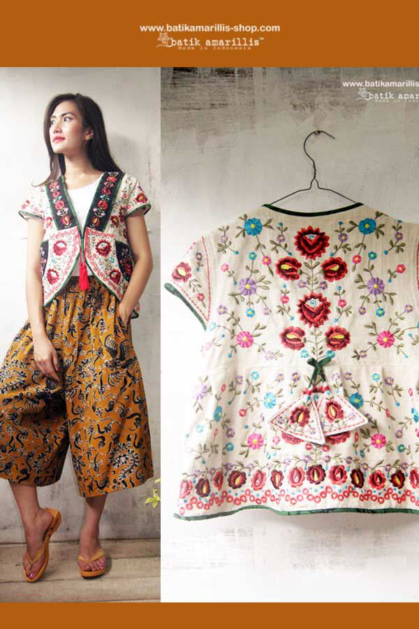 Batik Amarillis's garden vest this is when Indonesia's traditional textile ,exotic Tenun Batik Gedog Tuban of Indonesia meets rich and colorful Hungarian embroidery...