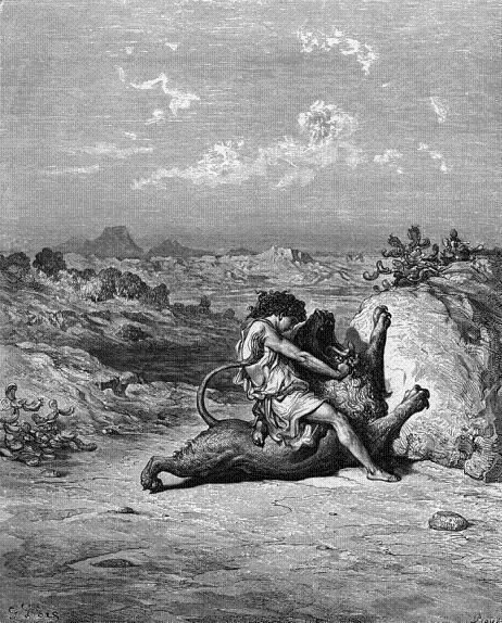 ему загородил дорогу молодой рыкающий лев. Силач разорвал льва в клочки и как ни в чем не бывало пошел в Фимнаф