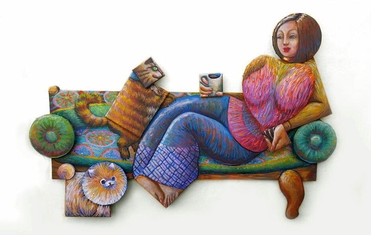 #Lady with coffee and cookies or Contemporay #Maja -Acryl on canvas -Irregular format #Erika Stanley