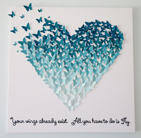 3D Butterfly Heart in Ombre Ocean Blues  Wall by MyHappyHeartArt