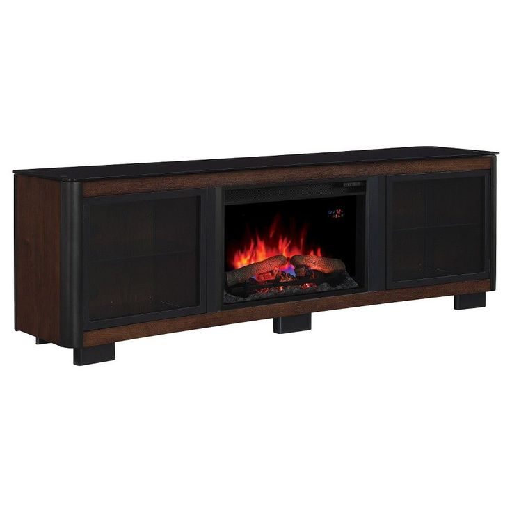 Manhattan TV Stand with Electric Fireplace Chocolate (Brown) 76 -Classic Flame