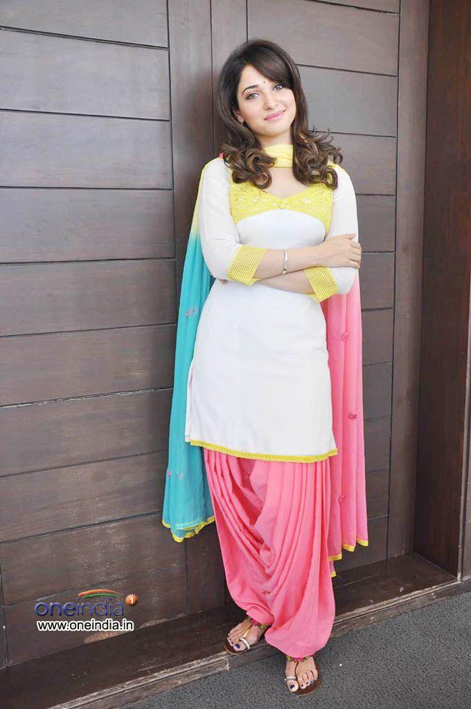 Tamannaah Bhatia. White and pink punjabi suit. #punjabisuit