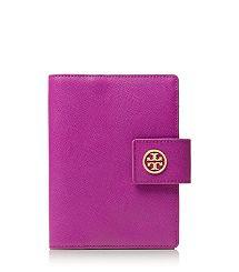 Tory Burch ROBINSON LARGE PASSPORT HOLDER - Royal Fuchsia/Gooseberry