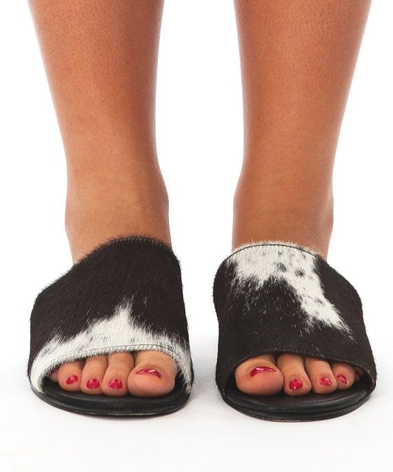 Cowhide Fur Leather Slides by STILOaustralia on Etsy