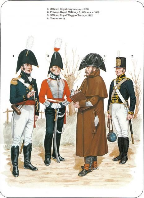 British; L to R Royal Engineers, Officer c.1810, Royal Waggon Train, Officer c.1812, Commissary & Royal Military Articifers, Private c.1809