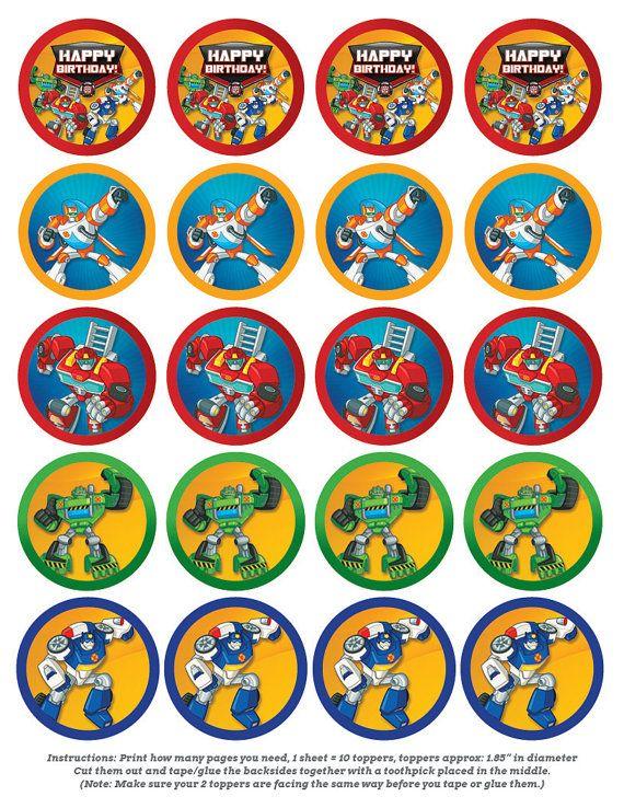 Transform and Roll Out met deze Rescue Bot Cupcake Topper ontwerpen!    Deze kleine toppers zijn ongeveer 1 7/8 diameter, en kunnen ook worden gebruikt als tafel confetti voor uw kind Rescue Bot partij.  Gewoon knippen de cirkels, dan tape of lijm 2 van hen samen rug aan rug met een tandenstoker die tussen hen voor het decoreren van je cupcakes. TIP: Zorg ervoor dat u ze op dezelfde manier wanneer u bent taping of lijmen van deze zodat zodra ze klaar bent ze juiste kant naar boven maakt ...