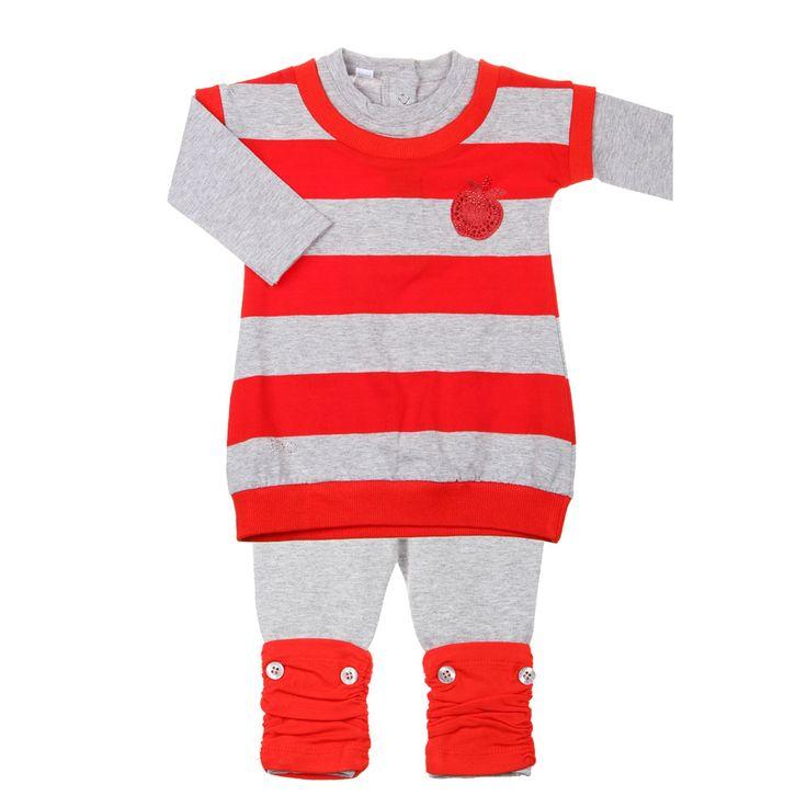 Lief baby winter setje. Gestreepte jurkje met coole leggings. #iDo #babykleertjes #kinderkleding #babyfashion www.kienk.nl kinderkleding en babykleding
