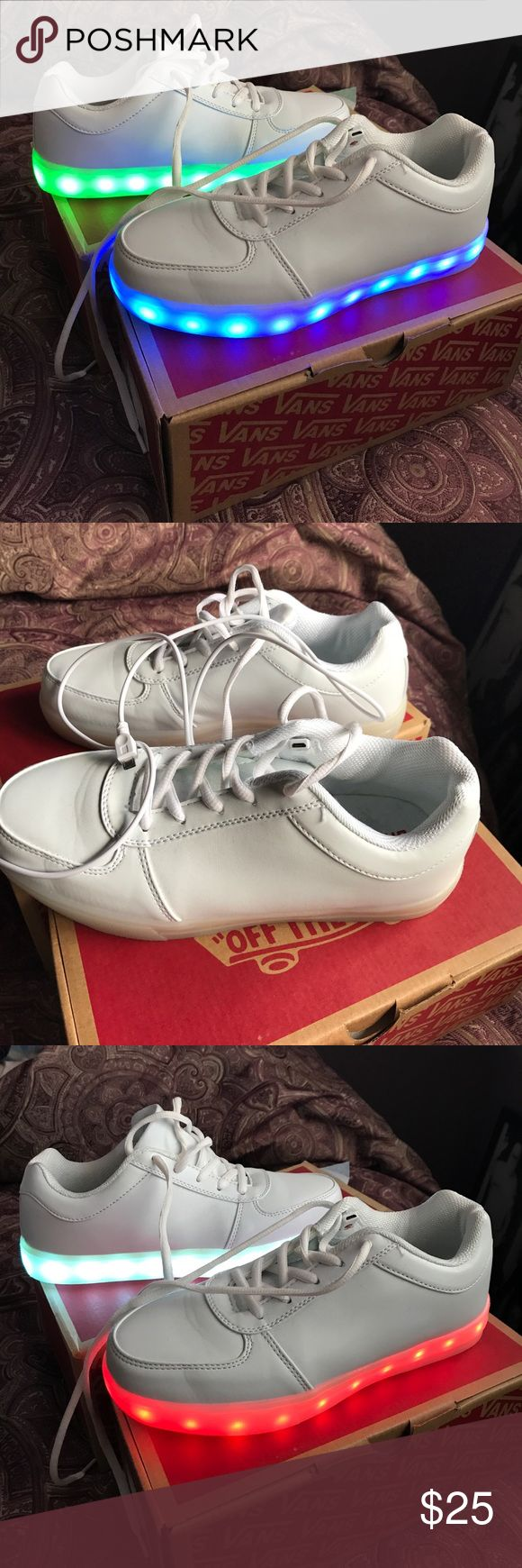 luminous Light Up Shoes Almost new worn once, super cool colors that change with the touch of a button by shoe tongue,  lights can be intermittent, flashing or still , several L E D Colors Saguard Shoes Sneakers