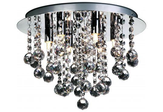 Madelene taklampe m/ekte krystall Nova Life Krom 35cm | Lampehuset