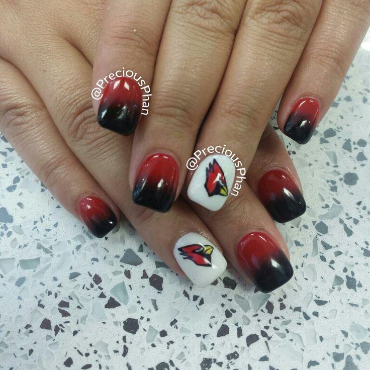Ombre Arizona Cardinals Nails Football Nails Football Nail Art Nails
