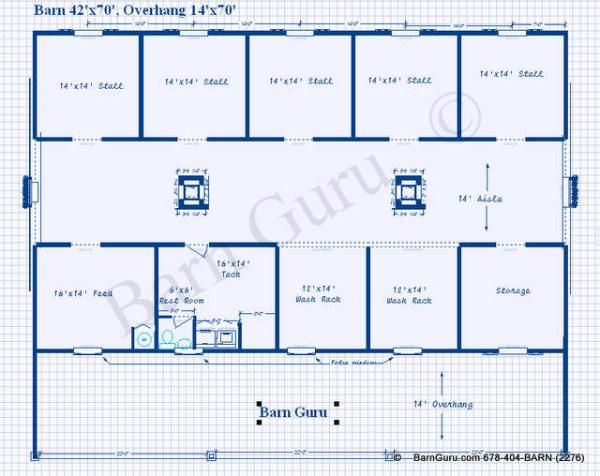 5 or 6 stall horse barn plan room for the 2 horse 2 for Equestrian barn plans